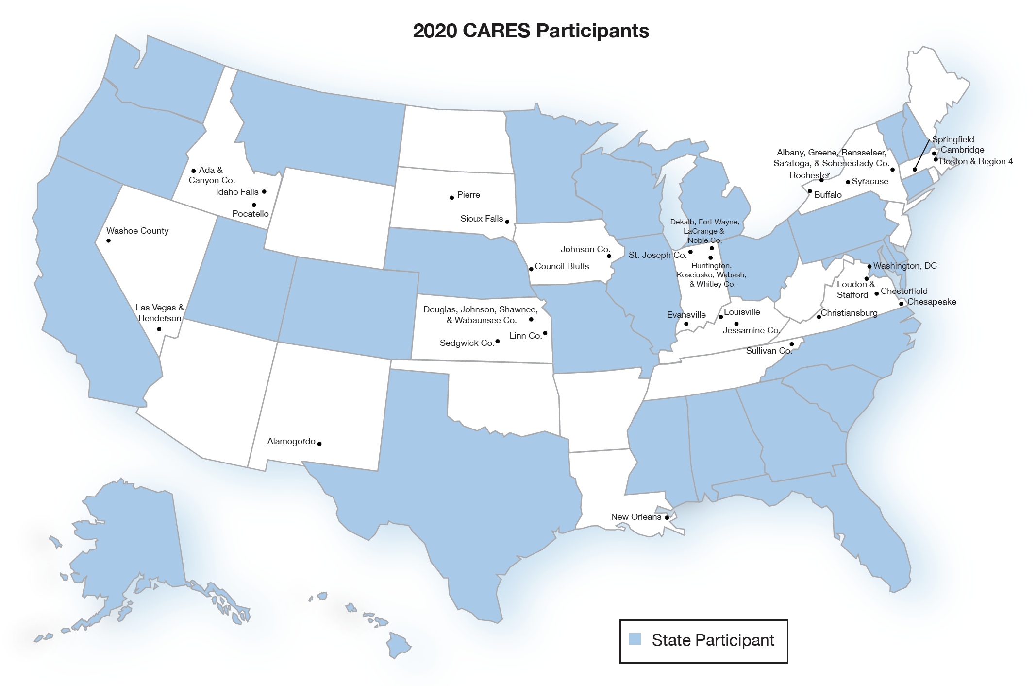 Map of Current CARES Sites